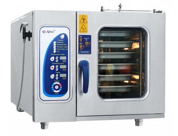 Пароконвектомат ПКА-6-1/1ПМФ (морской, парогенератор, 6 GN 1/1, вся нерж, без гастроемкостей, 3х-канальный щуп, регулировка влажности, 5 скоростей вращения вентилятора, фиксация двери, крепление к полу) + 110 программ (110000002298)