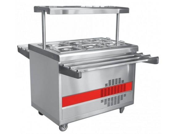 Прилавок холодильный ПВВ(Н)-70ПМ-НШ (откр., полка с подсветкой,с г/емкост.,1120 мм.) /вся нерж./ (210000000455)