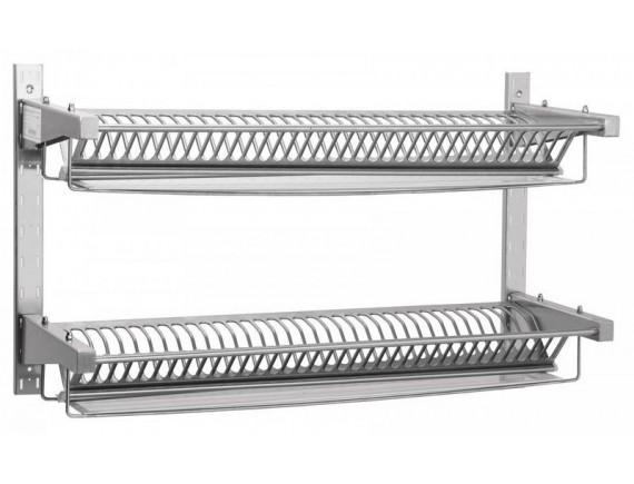 Полка для сушки тарелок ПСТ-2 (1000x300 мм) настенная, 2 кассеты, 70 тарелок,с лотком для сбора воды (210000007859)