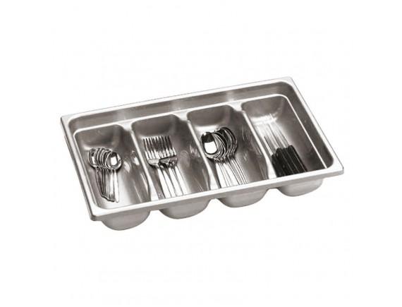 Лоток для столовых приборов 4х секционный пластик (42585-04)
