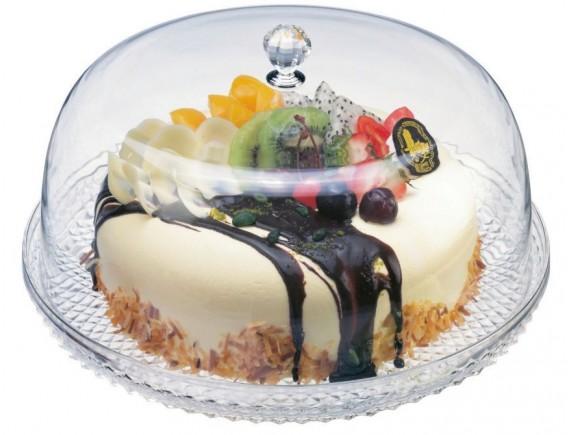Блюдо для торта 30 см с клошей h15см, прозрачное, пластик (44947-06)