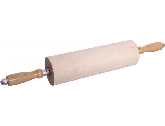 Скалка с вращающимися ручками д. 9 см, длина 30 см, дерево (47036-30)