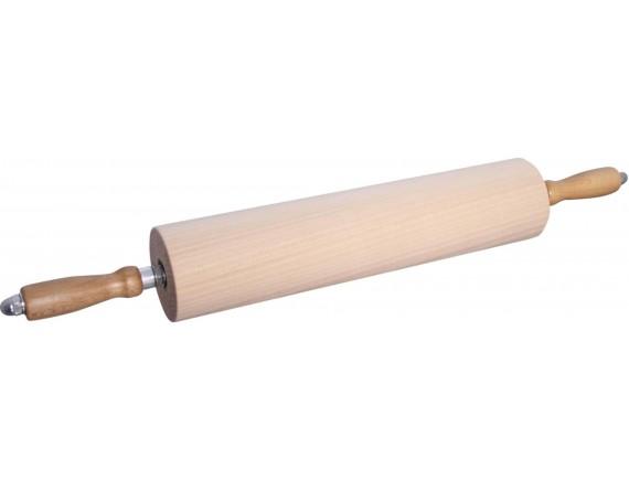 Скалка с вращающимися ручками д. 9 см, длина 45 см, дерево (47036-45)