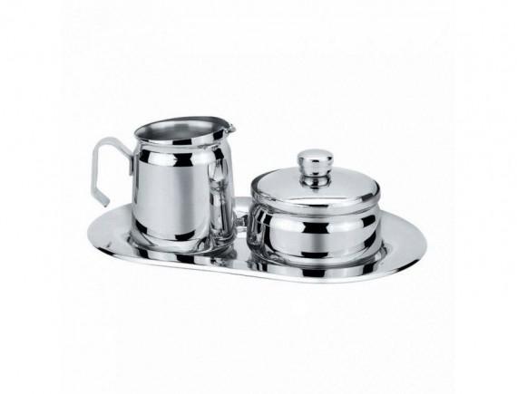 Набор для сервировки нерж. сталь: молочник + сахарница на блюде (95001176)