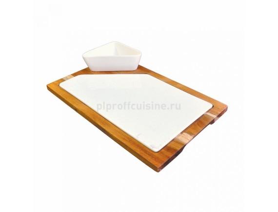 Блюдо фарф.30 cм с вставкой-акация для подачи стейка,сыра Kunst Werk