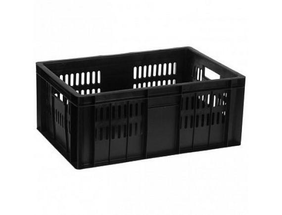 Ящик, 600x400x250мм, сплошное дно, перфорированные стенки, черный, Тара. (201-1)