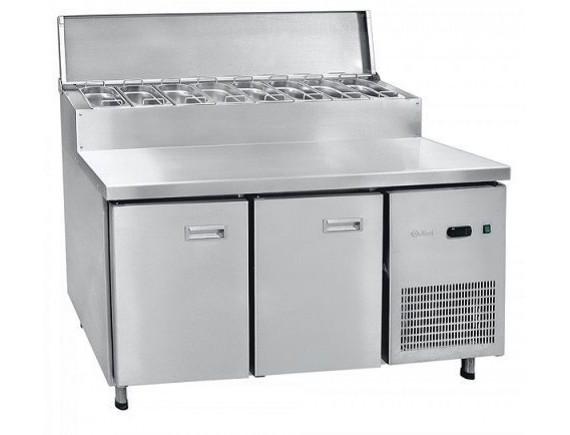 Стол холодильный СХС-70-01П, 2-х дверный, 2 полки под GN 1/1, среднетемп. для пиццы, t (-2+8°С), 1435х700х1090 мм, GN 1/4 - 8 шт., Чувашторгтехника (210000802445)