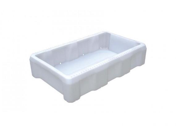 Ящик для рыбы, 825х500х190мм, с отверстиями для слива жидкости, белый, пластик, Тара. (212)