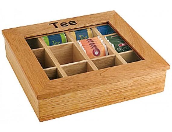 Коробка для чайных пакетиков 31х28х9 см, светлое дерево, Paderno (41614-35)