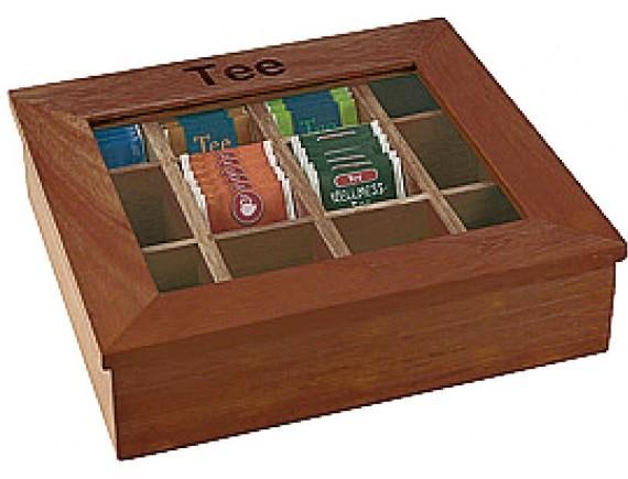 Коробка для чайных пакетиков, 31х28х9 см, темное дерево, Paderno. (41614-36)