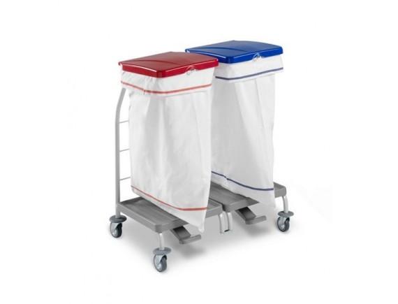 Тележка Dust двойная, пластиковая с педалью и крышкой, мешки не входят в комплект. (4163)