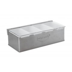 Контейнер барный, 32х16х10 см, 4 секции, нерж.сталь, Paderno. (41782-04)