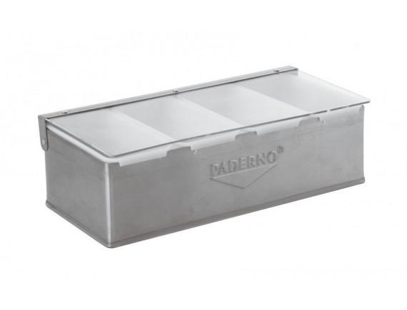 Контейнер барный 32х16х10 см, 4 секции, нерж.сталь, Paderno (41782-04)