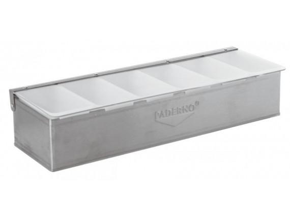 Контейнер барный, 47х16х10 см, 6 секций, нерж.сталь, Paderno. (41782-06)