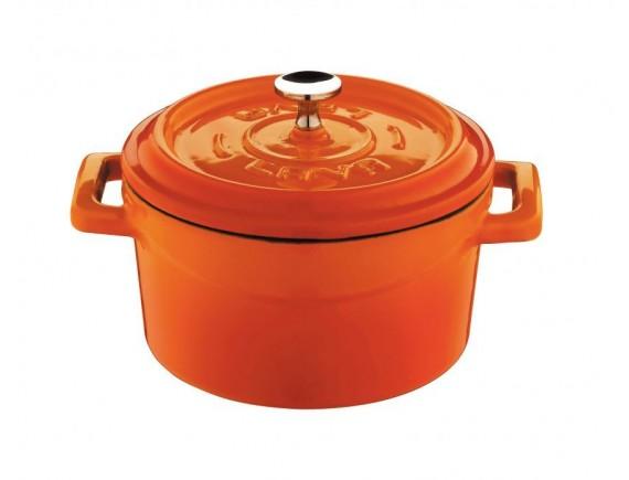 Кастрюля порционная, с крышкой, 0,55 л, D-12 см, оранжевая, эмалированный чугун, Lava. (44201O12)