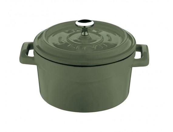 Кастрюля порционная, с крышкой, 0,55 л, D-12 см, зеленая, эмалированный чугун, Lava. (44201V12)