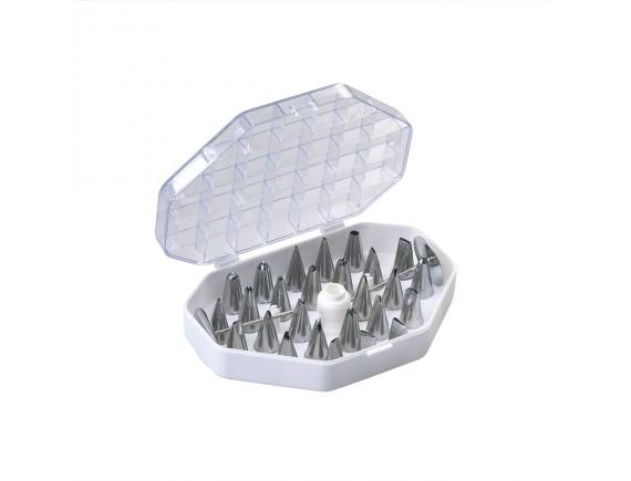 Набор кондитерских насадок, в пластиковом кейсе, 29 предметов, нержавеющая сталь, Paderno. (47219-29)