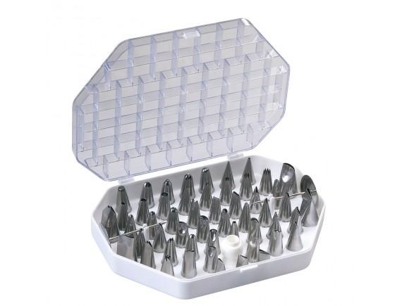 Набор кондитерских насадок, в пластиковом кейсе, 55 предметов, нерж.сталь, Paderno. (47219-55)