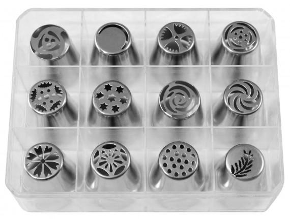 Набор кондитерских насадок в пластиковом кейсе, 12 штук, нержавеющая сталь, Paderno. (47357-38)