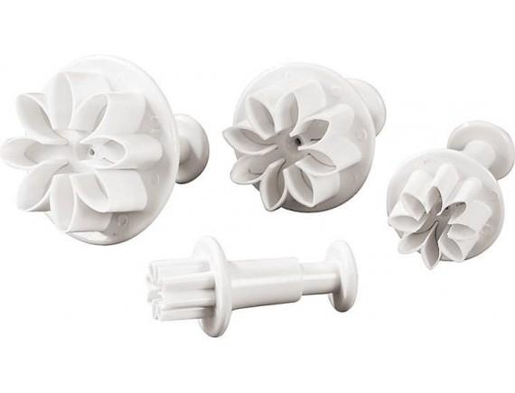 Набор вырубок для теста с выталкивателем, Цветок, 4 штуки, 1.2-2-2.8-3.5 см, пластик, Paderno. (47622-26)