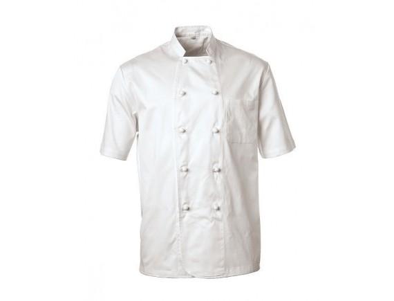 Китель поварской, короткий рукав, на пуклях, 100% хлопок, 185 gsm, белый, Paderno. (48530)