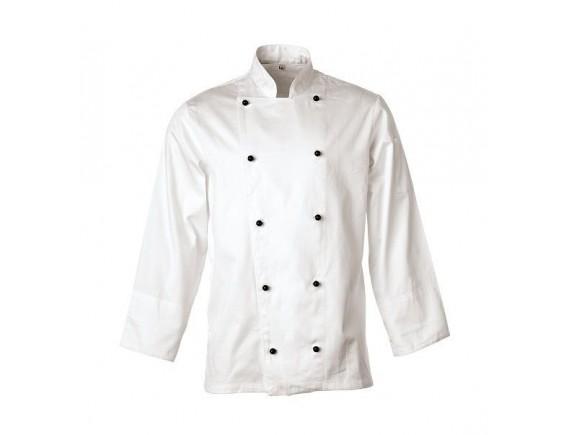 Китель поварской, длинный рукав, на пуклях, 100% хлопок, 185 gsm, белый, Paderno. (48531)
