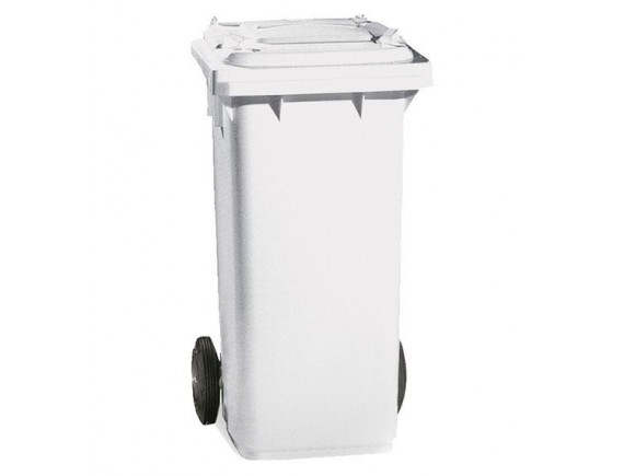 Бак для мусора, 120 л, на колесах, с педалью и крышкой, белый (5053)