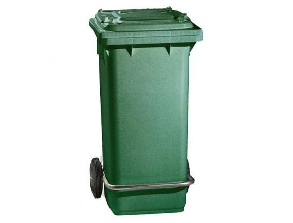 Бак для мусора, 120 л, на колесах, с педалью и крышкой, зеленый (5054)