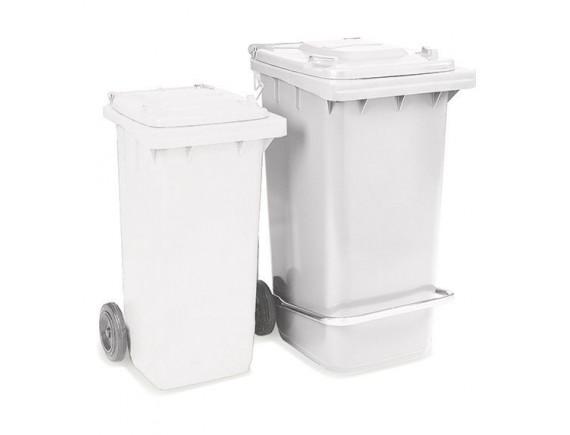 Бак для мусора, 240 л, на колесах, с педалью и крышкой, белый (5295)