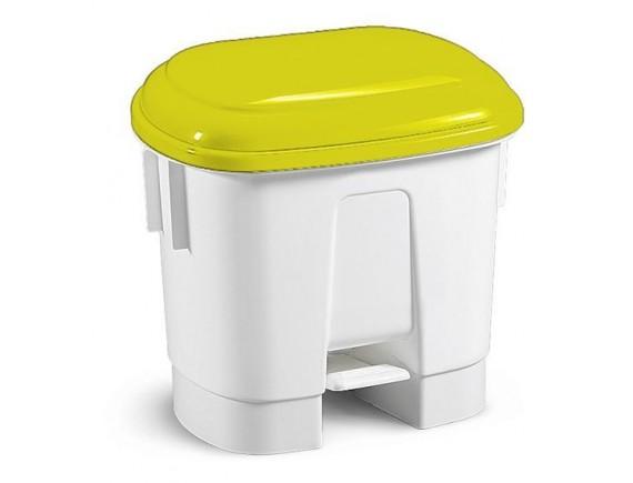 Ведро мусорное Derby 30 л с педалью и держателем для мешка с желтой крышкой, полипропилен (5713)