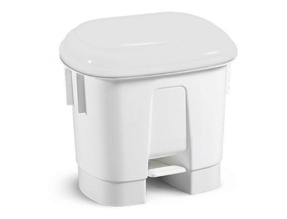 Контейнер мусорный с педалью и разделителем для двух мешков, полипропилен, белый с белой крышкой (5730)