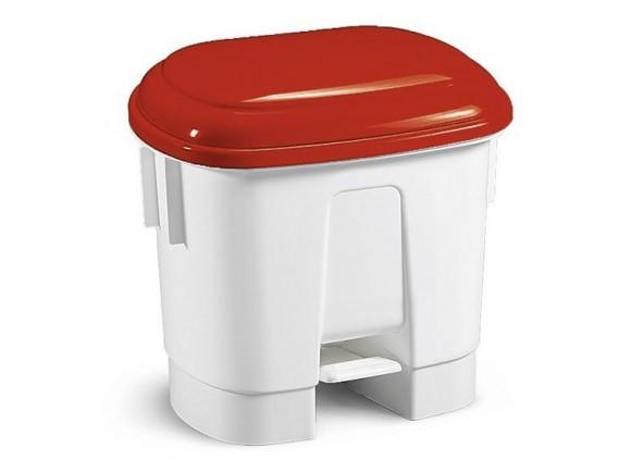Контейнер мусорный с педалью и разделителем для двух мешков, полипропилен, белый с красной крышкой, (5731)