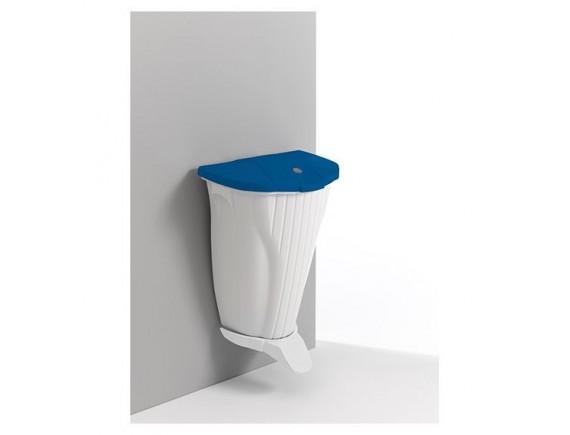 Настенное мусорное ведро Wall-UP , 50л, белое c педалью и голубой крышкой (5840)