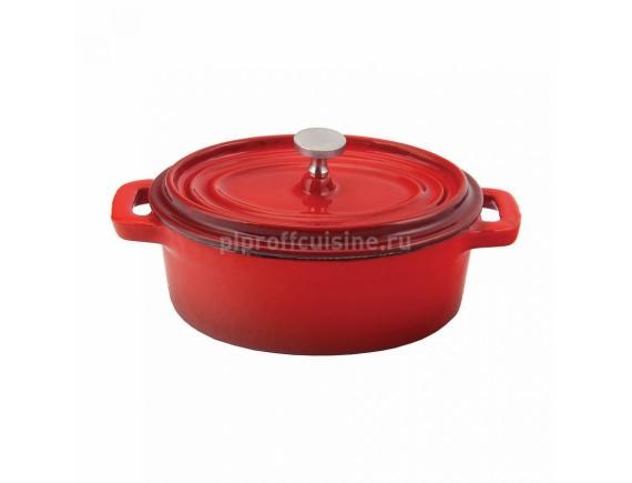 Кастрюля порционная, 250 мл красная, овальная 12 см эмалир.чугун, Proff Cuisine. (81200101)