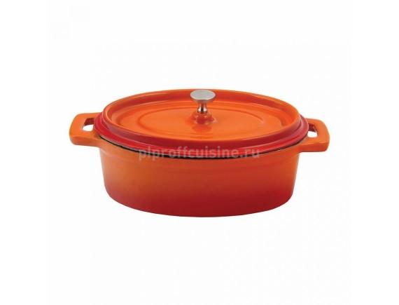 Кастрюля порционная, 250 мл оранжевая, овальная 12см эмалир.чугун, Proff Cuisine. (81200102)