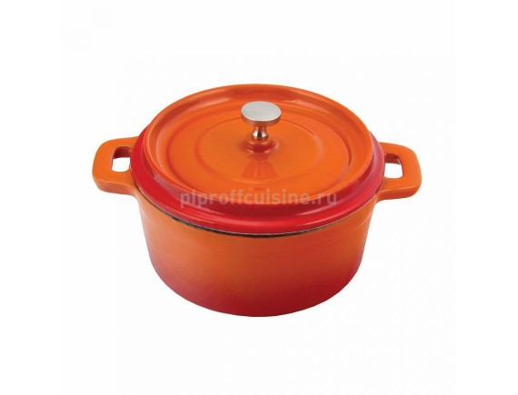 Кастрюля порционная, 450 мл оранжевая, круглая 12 см эмалир.чугун, Proff Cuisine. (81200106)
