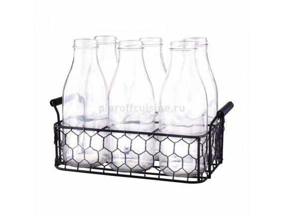 Подставка для переноски и сервировки бутылок, 24*16 cм (6 ячеек, 8*7,5 cм), металлическая, Proff Cuisine. (81200122)