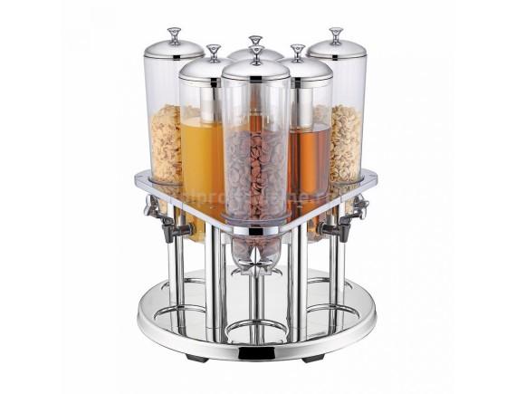 Диспенсер сервировочный для соков и сухих продуктов (6 колб по 3 л), Proff Cuisine. (81200600)