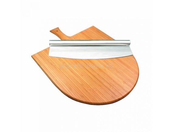 Набор для подачи пиццы, (доска бамбук с ручкой и нож) D=350mm