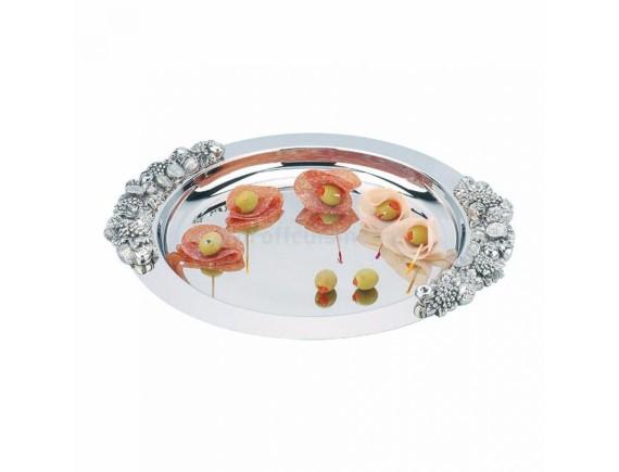 Блюдо круглое с декоративными ручками, нержавеющая сталь, 31 cм