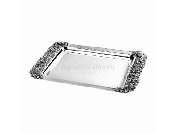 Блюдо прямоугольное с декоративными ручками, нержавеющая сталь, 47*31 cм