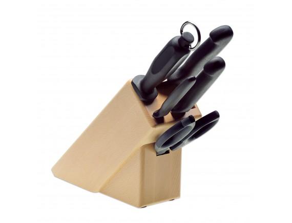 Набор ножей, ручка TPE из 5 позиций на подставке, Giesser Messer. (9891 b5)