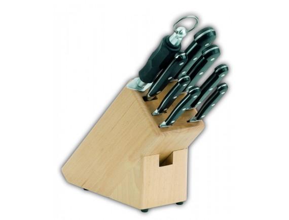 Набор кованных ножей, из 8 позиций на подставке, клепанная усоверш.ручка, Giesser Messer. (9892 b)