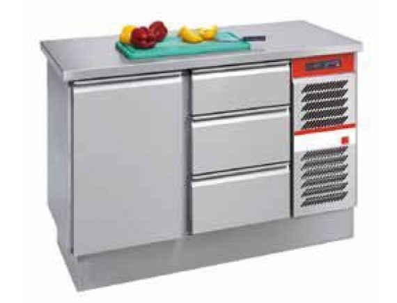 Холодильный стол 270л. 1 дверь+3 ящика (-15/+10) (GKI127113T,310W/ч 230 В ,1146х675х710), Salvis (GK600305)