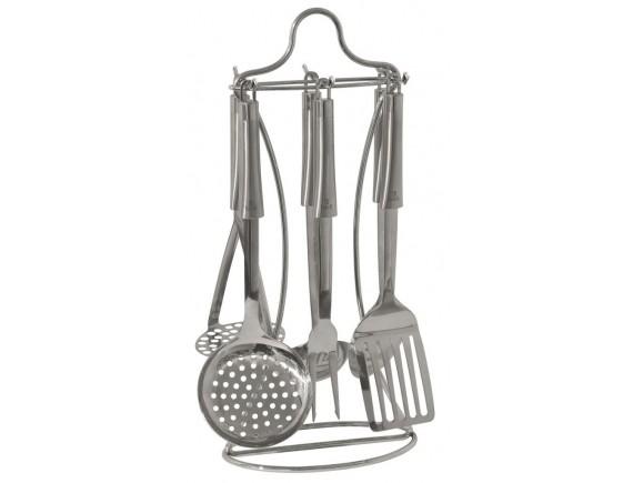 Набор кухонных принадлежностей на подставке, (половник, ложка поварская, шумовка ,вилка поварская, картофелемялка , лопатка перфорированная), TALLER. (TR-1401)