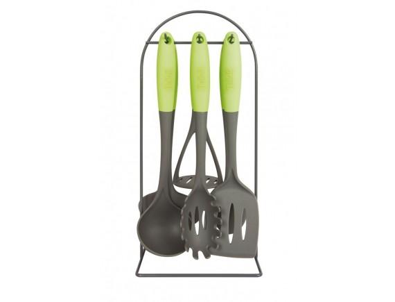 Набор кухонных принадлежностей на подставке, (половник, ложка поварская, шумовка, лопатка с прорезями, картофелемялка, ложка для спагетти), TALLER. (TR-1480)